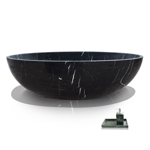 Nero Marquina Modern Black Marble Bath