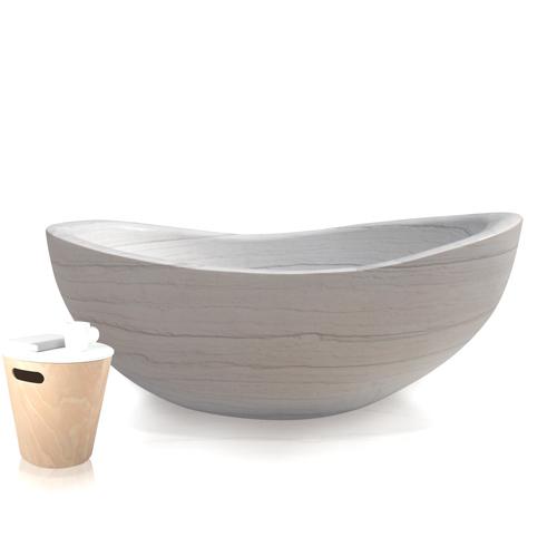 Saturn Vein white Stone Bathtub
