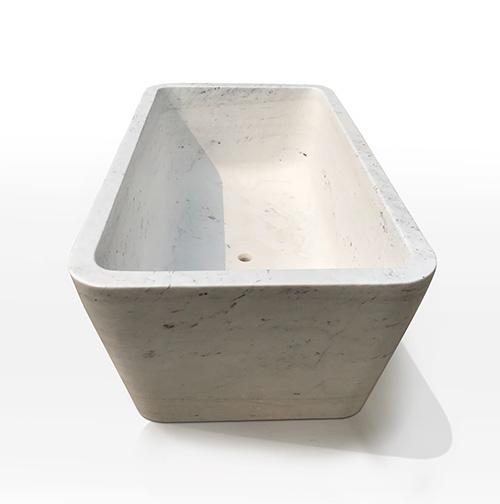 Contemporary Rectangular white marble bath