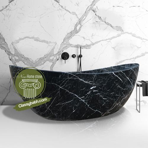 Double slipper nero marquina stone bathtub