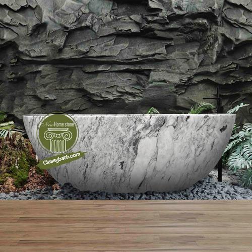 Modern Italian White Carrara Marble Bathtub